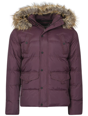 Padded detachable hooded coat in Aubergine - Dissident