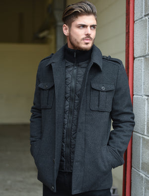 Addiego Wool Blend Herringbone Coat with Quilted Lining In Grey - Dissident