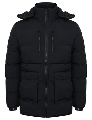 Bellamy Padded Coat with Detachable Hood in True Navy – Dissident