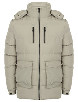Bellamy Padded Coat with Detachable Hood in Silver Grey – Dissident