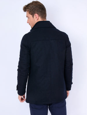 Hexacode Wool Blend Double Breasted Mock Insert Coat in Navy – Tokyo Laundry