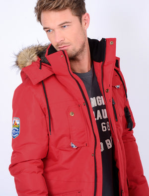 Dawson Utility Parka Coat with Fur Lined Hood in Red - Tokyo Laundry
