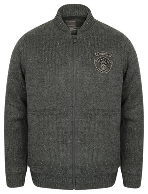 Cromford Knitted Bomber Jacket with Military Badges in Charcoal Nep – Dissident