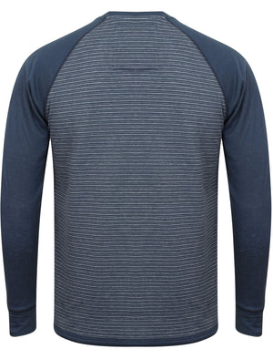 Sephro Raglan Sleeve Top with Stripe Print in Navy Marl - Tokyo Laundry