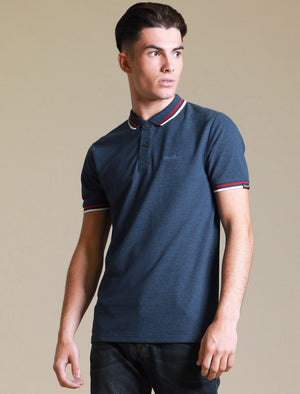 Holsen Cotton Grindle Polo Shirt with Tipping in Sodalite Blue – Tokyo Laundry