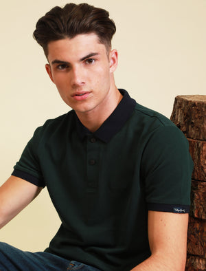 Southpaw Cotton Pique Polo Shirt with Contrast Trims In Scarab Green – Tokyo Laundry