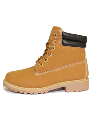 Kat 6 hole lace up tan hiker boots