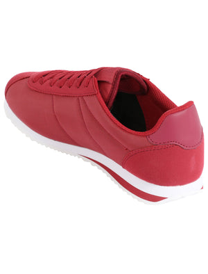 Mens Hurley Quilted Lace Up Fashion Trainers in Claret