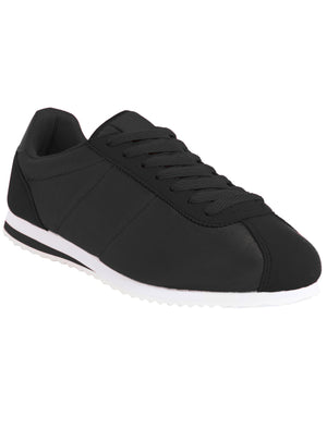 Womens Tessa Quilted Lace up Fashion Trainers in Black