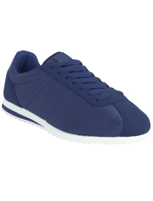 Womens Tessa Quilted Lace up Fashion Trainers in Navy