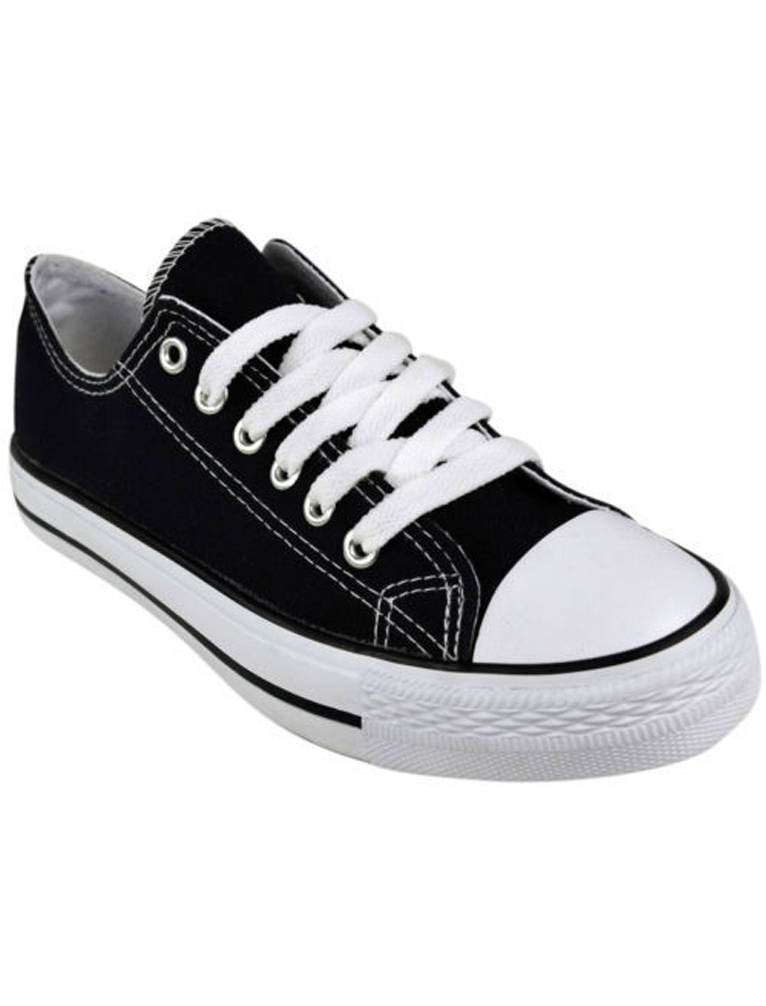 Tokyo Laundry Shoes Black canvas lace up plimsoll trainers / UK 3