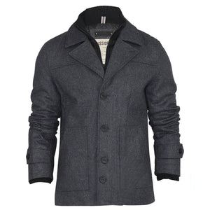 Dissident Boerum Wool Mix Charcoal Pea Coat