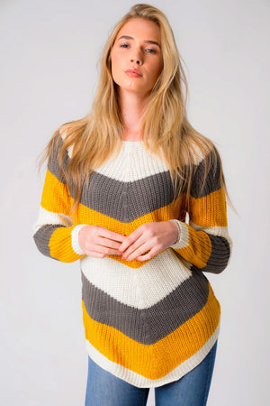 Sena Chevron Colour Block Knitted Jumper in Ivory / Old Gold / Castle Rock – Tokyo Laundry