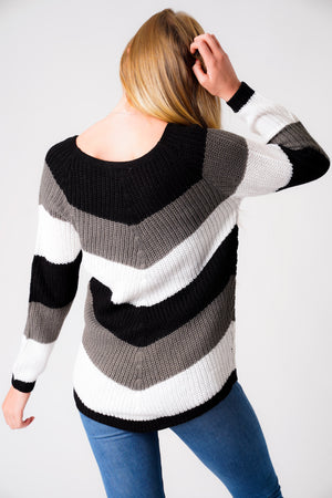 Sena Chevron Colour Block Knitted Jumper in Black / Grey / White – Tokyo Laundry