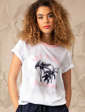 Deia Palm Motif Cotton Jersey Ringer T-Shirt In Bright White – Tokyo Laundry