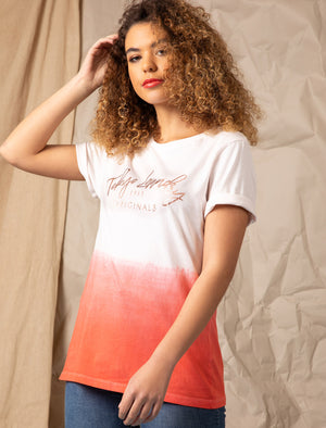 Inca Rose Gold Foil Motif Dip Dye Cotton Jersey T-Shirt in Bright White – Tokyo Laundry