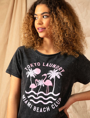 Covetes Flamingo Motif Cotton Tie Dye T-Shirt in Pirate Black – Tokyo Laundry