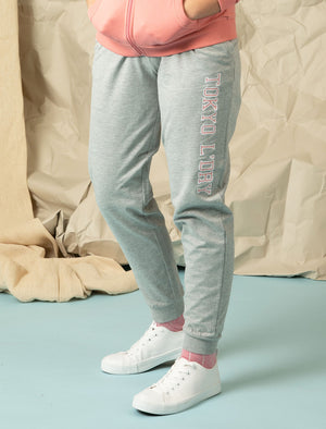 Banya Loopback Fleece Cuffed Joggers in Light Grey Marl - Tokyo Laundry