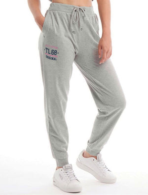 Jayne Brushback Fleece Cuffed Joggers in Light Grey Marl - Tokyo Laundry