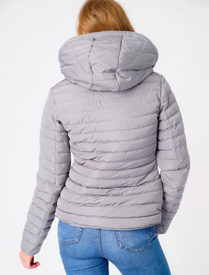 Ginger Quilted Hooded Puffer Jacket in Sharkskin - Tokyo Laundry