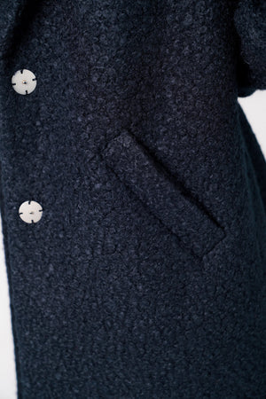 Fortune Textured Boucle Longline Midi Coat In Navy – Tokyo Laundry