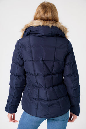 Bertie Funnel Neck Quilted Puffer Jacket With Detachable Fur Trim In Peacoat Blue - Tokyo Laundry