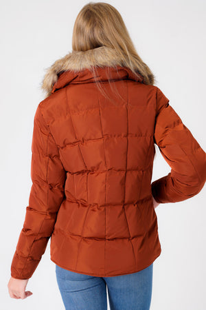Bertie Funnel Neck Quilted Puffer Jacket With Detachable Fur Trim In Smoked Paprika - Tokyo Laundry