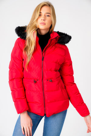Jasmin Quilted Puffer Jacket With Faux Fur Trim Hood In Crimson – Tokyo Laundry