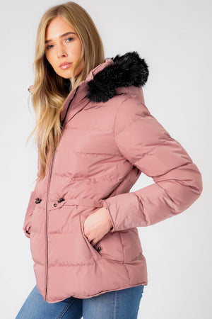 Jasmin Quilted Puffer Jacket With Faux Fur Trim Hood In Nostalgia Rose – Tokyo Laundry