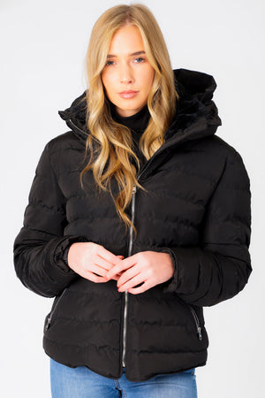 Quince Quilted Puffer Jacket with Extendable Hood in Black - Tokyo Laundry