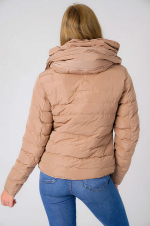 Quince Quilted Puffer Jacket with Extendable Hood in Ginger Snap - Tokyo Laundry