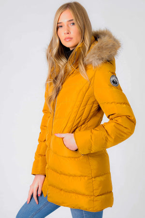 Jaboris Fur Funnel Neck Longline Quilted Puffer Coat in Mustard - Tokyo Laundry