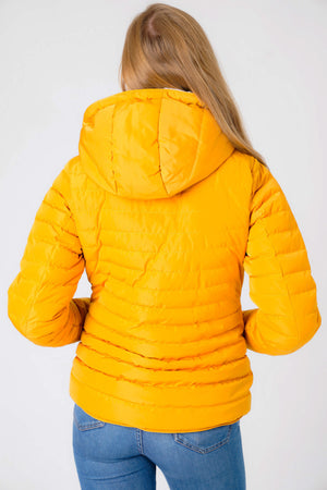 Geri Borg Lined Quilted Puffer Coat with Hood In Old Gold – Tokyo Laundry