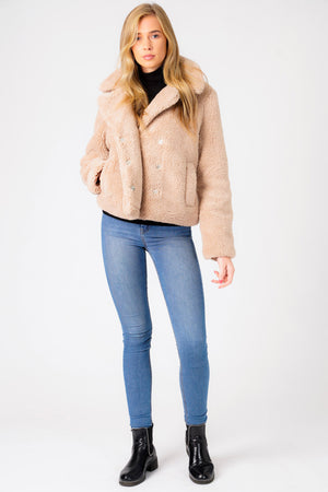 Flamingo Biker Style Borg Teddy Jacket In Oatmeal - Weekend Vibes