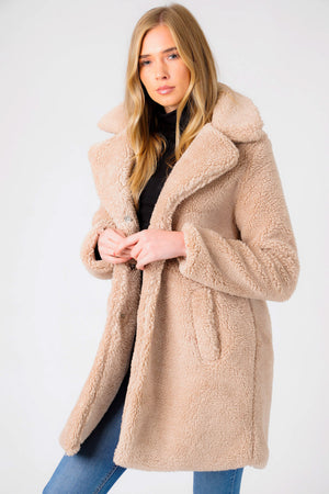Bodhi Longline Midi Borg Teddy Coat In Oatmeal – Weekend Vibes