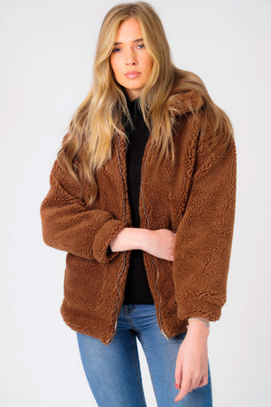 Cupcake Borg Teddy Bomber Jacket In Brown - Weekend Vibes