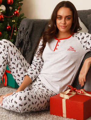Scottie Print 2pc Long Sleeve Cotton Lounge Set in Light Grey Marl - Tokyo Laundry