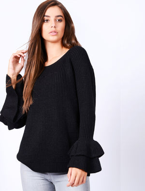 TL Ocean Jumper with Frill Sleeves in Black – Tokyo Laundry
