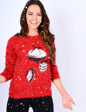 Baubles Sequin Novelty Christmas Jumper In Red - Merry Christmas