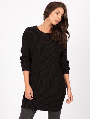Lion Longline Jumper Dress with Tie Back Detail in Black - Tokyo Laundry