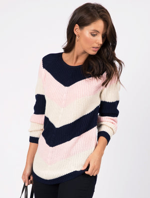 Sena Chevron Colour Block Knitted Jumper in Navy / Ivory / Almond Blossom – Tokyo Laundry