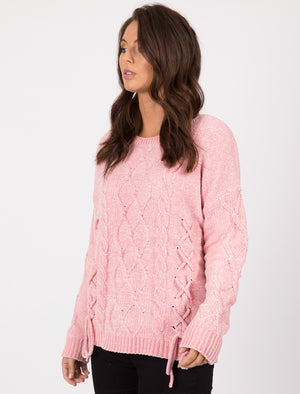 Caphis Tie Front Chenille Knitted Jumper in Candy Pink  - Tokyo Laundry