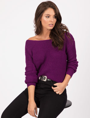Amelia Off The Shoulder Knitted Jumper in Grape Juice – Tokyo Laundry