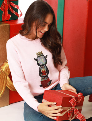 Women's Xmas Penguin Sequin Motif Novelty Christmas Jumper in Almond Blossom