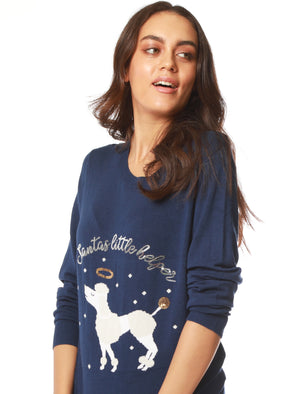 Women's Xmas Poodle Sequin Motif Novelty Christmas Jumper in Medieval Blue