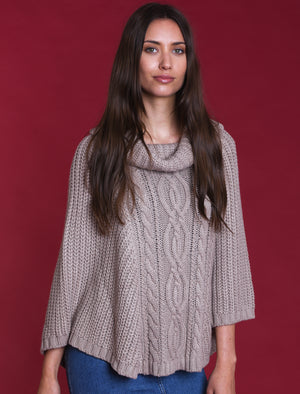 Royal Cowl Neck Cable Knit Poncho in Stone - Tokyo Laundry