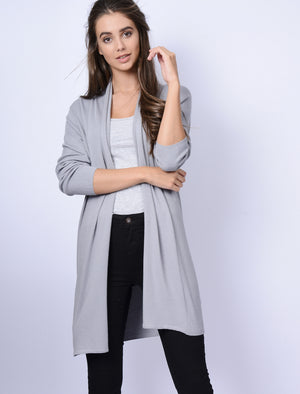 Quayside Ribbed Cardigan in Light Grey Marl – Plum Tree