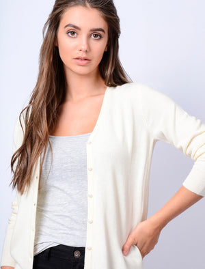 Monet V Neck Button Up Cardigan in Clean Cream – Plum Tree