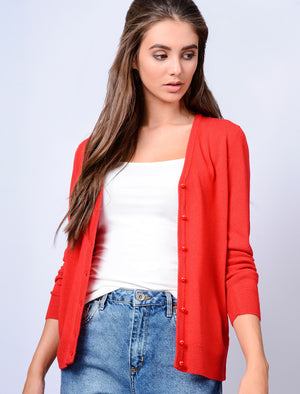 Monet V Neck Button Up Cardigan in Pillar Box Red – Plum Tree