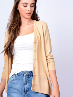 Monet V Neck Button Up Cardigan in Warm Sand - Plum Tree
